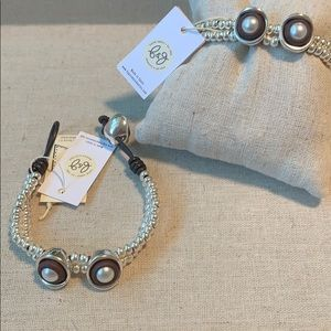 B&G Silver Beads, Pearls & Leather Bracelet